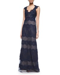 Marchesa Cap Sleeve Lace Keyhole Back Gown Navy