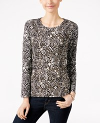 Charter Club Paisley Print Long Sleeve Top Only At Macy's Deep Black Combo