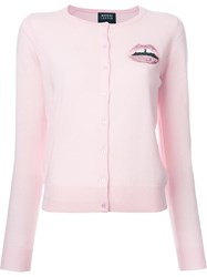 Markus Lupfer Sequin Lips Cardigan Pink Purple