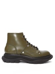 Alexander Mcqueen Lace Up Patent Leather Military Boots Khaki