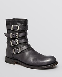 John Varvatos Collection Engineer Four Buckle Boots Black