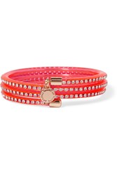 Marc By Marc Jacobs Slinky Rose Gold Tone Crystal And Rubber Bracelet Pink