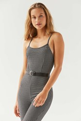 Urban Outfitters Uo Harlyn Bodycon Gingham Jumpsuit Black White