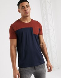 Esprit Colour Block T Shirt In Rust And Navy