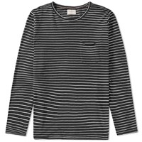 Nudie Jeans Long Sleeve Stripe Pocket Tee Black