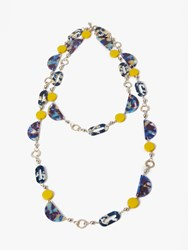 One Button Multi Bead Long Layered Necklace Navy Multi