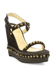 Christian Louboutin Cataclou Studded Suede Espadrille Platform Wedge Sandals Multi