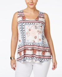 American Rag Plus Size Printed Tank Top Only At Macy's Bossa Nova Combo