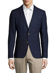 Sand Woolen Notch Lapel Plaid Jacket Navy