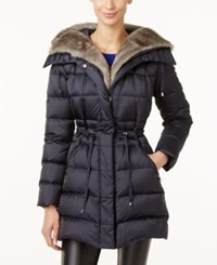 Laundry By Shelli Segal Faux Fur Trim Hooded Puffer Coat Only At Macy's Mystic Blue