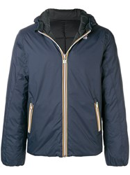 K Way Zipped Hooded Jacket Blue