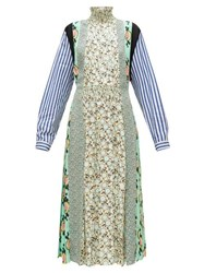 Prada Sable Patchwork Print Pleated Crepe Dress Green Print