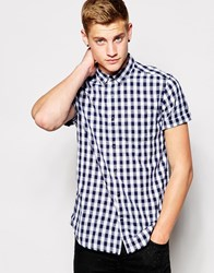 New Look Short Sleeve Shirt With Check Print Blue