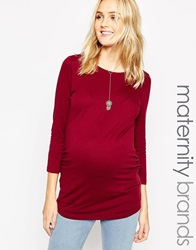 New Look Maternity 3 4 Sleeve Boatneck Top Wine