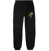 Alexander Mcqueen Slim Fit Tapered Printed Cotton Jersey Sweatpants Black