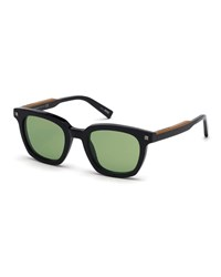 Ermenegildo Zegna Shiny Acetate Sunglasses Gray