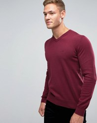 Armani Jeans Jumper With V Neck And Logo In Burgundy Burgundy Red