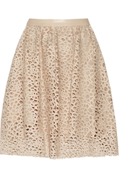 Karl Lagerfeld Resi Embroidered Faux Leather Skirt