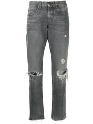 Saint Laurent Distressed Boyfriend Jeans Grey