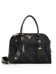 Prada Tessuto Impunto Nylon And Leather Satchel Nero