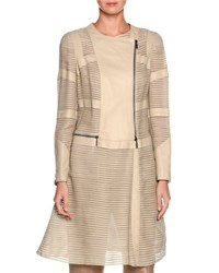 Giorgio Armani Striped Leather Asymmetric Zip Jacket Ivory