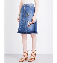 Red Valentino Bird Applique Denim Skirt Light Blue Denim