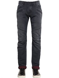 Balmain 16.5Cm Biker Cotton Denim Jeans