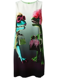 Moschino Cheap And Chic Dinosaur Print Shift Dress Green