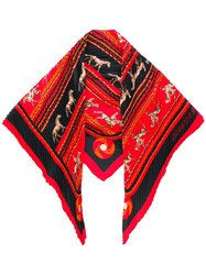 Hermes Vintage Pleated Pointy Scarf Red