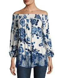 Neiman Marcus Off The Shoulder Floral Print Top White Blue