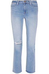 Frame Denim Le High Distressed Straight Leg Jeans Light Denim