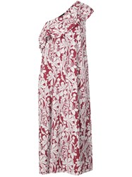 Stine Goya Printed One Shoulder Dress Red