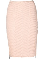 Koonhor Quilted Chevron Pencil Skirt Pink And Purple