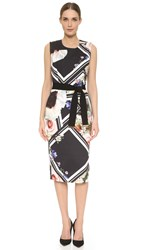 Preen Amina Dress With Belt Flower Block