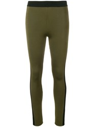 Balmain Side Stripe Leggings Green