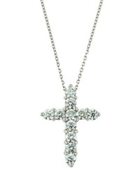 Diana M. Jewels 18K White Gold Diamond Cross Pendant Necklace 1.6Tcw