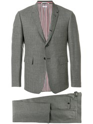 Thom Browne Classic Suit With Tie In 2Ply Fresco Grey