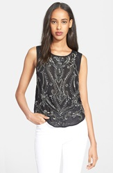 Haute Hippie Paisley Embellished Sleeveless Silk Top Black