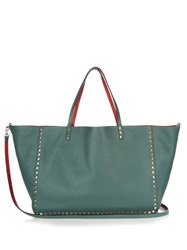 Valentino Rockstud Double Reversible Leather Tote Dark Green