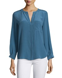 Joie Hanelli Long Sleeve Silk Blouse Deep Chambray