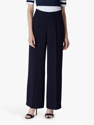 Jaeger Straight Leg Crepe Trousers Navy