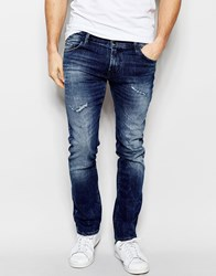 Boss Orange Skinny Jeans In Rip And Repair Wash Blue