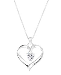 Macy's Inspirational Sterling Silver Necklace Cubic Zirconia 6Mm 'Grandma' Open Heart Pendant