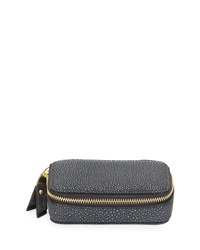 Neiman Marcus Large Faux Leather Pill Case Navy