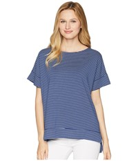 Fresh Produce Pinstripe Riley Top Moonlight Blue Short Sleeve Pullover