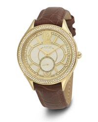 Alor 38Mm Valenti Watch W Diamond Bezels And Leather Strap Golden Brown