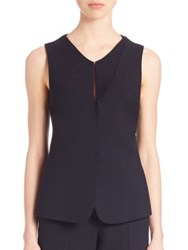 Armani Collezioni Textured Stretch Wool Gilet Vest Navy