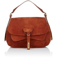 Fontana Milano 1915 Women's Wight Medium Saddle Hobo Bag Brown Red Brown Red