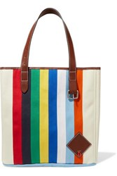 J.W.Anderson Jw Anderson Belt Leather Trimmed Striped Canvas Tote Blue