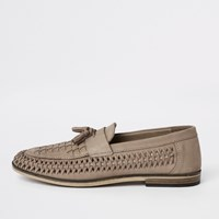 River Island Beige Leather Woven Tassel Front Loafers